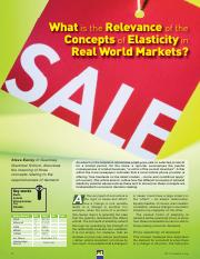 What is the Relevance of the Concepts of Elasticity in Real World Markets
