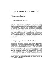 Class and Reading Notes for MATH 240