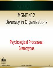 412 07 Psychological Processes - Stereotypes