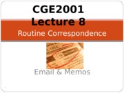 CGE2001 Lecture 8 Routine Correspondence