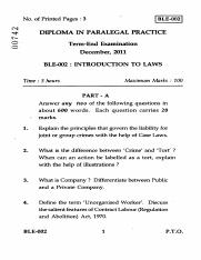 (www.entrance-exam.net)-IGNOU Diploma in Paralegal Practice - Introduction to Laws Sample Paper 1.pd