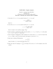 Complex Analysis Assignments 1 and 2