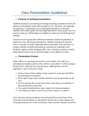 Class Presentation Guidelines