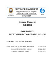 Experiment 2 Organic Chemistry