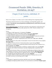Chapter 8 - Crossword Puzzle Review for DNA genetics and evolution individual(1)