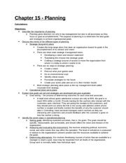 Study Guide - Part 5 - Chapter 15 - Planning