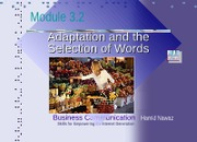 Module 3.2 Selection of Words