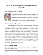 113-14 - Accounting Treatment for Construction Contracts