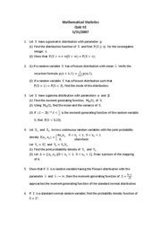 Mathematical Statistics Quiz#2-2007