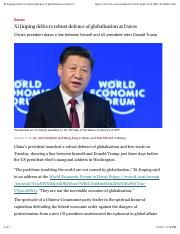20170117 - Xi Jinping delivers robust defence of globalisation at Davos