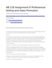 AB 219 Assignment 9 Professional Selling and Sales Promotion.docx
