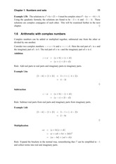 Arithmetic with complex numbers