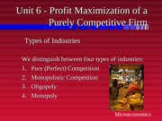 Unit6 Profit Maximization of a Purely Competitive Firm