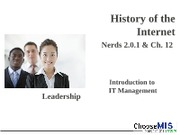 Class 13 and 15 - History of the Internet
