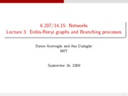 Lecture 3 - Erdos-Renyi Graphs and Branching Proce