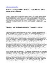 Divinity 388_Lectures Notes on Radical Theology and Death of God