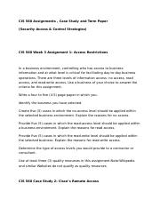CIS 312  Assignments , Case Study and Term Paper