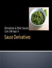 CULN 149 Topic 4 Sauce Derivatives