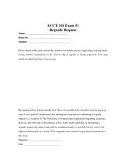ACCT 101 Exam 1 Regrade Form