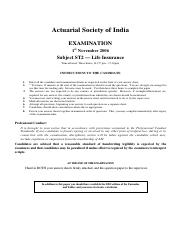 (www.entrance-exam.net)-Institute of Actuaries Of India-Subject ST1- Life Insurance Sample Paper 3.p
