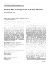 2. FRONTIERS OF THE MARKETING PARADIGM, ACHROL & P. KOTLER