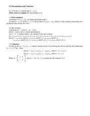 Lecture Notes on  Permutations and Cofactors