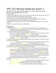 PSY 101 Review Sheet for Exam 1.docx