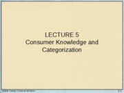 Lecture 5 - Consumer Knowledge and Categorization