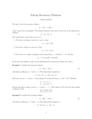 MATH 2403 Recurrence Relation Notes