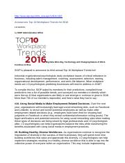 SIOP ANNOUNCES KEY TRENDS FOR 2016