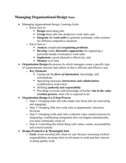 Managing Organizational Design Review Notes