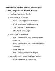 Documenting criteria for diagnosis of autism Notes