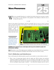 Lab #25 Wave Phenomena