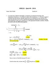 CHE 222 Spring 2014 Quiz 8 Solutions