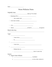 Water Pollution Notes Sheet