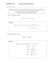 MATH 115 Fall 2014 Final Exam Review Solutions