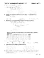 CS12 Summer15 Midterm Multiple Choice