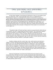 The Distracted Driving Epidemic - Revised