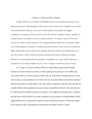 Essay #2 - Liberal Arts Degree Means a Waste of Money