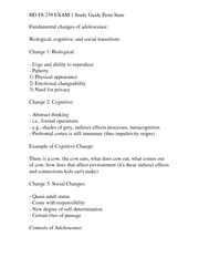HD FS 239 EXAM 1 Study Guide Penn State