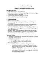 Introduction to Marketing Chapter 1