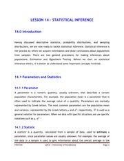 LESSON 14 - STATISTICAL INFERENCES
