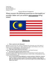 Rippe_Malaysia Country Research Assignment