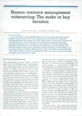 HR outsourcing make or buy