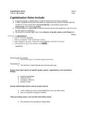 Capitalization Notes