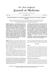 MICR 1531 New England Journal Article - Effectiveness of Vaccination