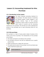 113-12 - Accounting Treatment for Hire Purchase