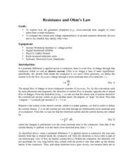 lab Resistance and Ohms law