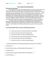 Sex Linked Inheritance Worksheet - SEX-LINKED INHERITANCE ...