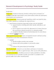 Research Development in Psychology Study Guide.docx